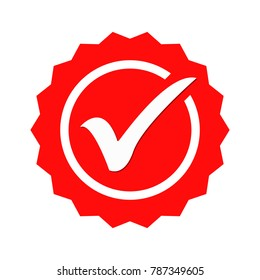 Red round checkbox icon vector illustration isolated on white background
