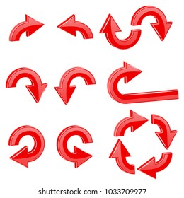 Red round curved arrows. Collection of icons. Vector 3d illustration isolated on white background