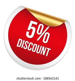 Red round five percent discount sticker on white background