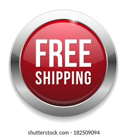 Red round free shipping button with metallic border