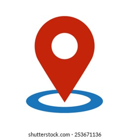 Red Round Geo Location Pin on Blue Ring Circle vector icon