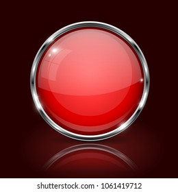 Red round glass button. 3d icon with metal frame on dark red background. Vector illustration