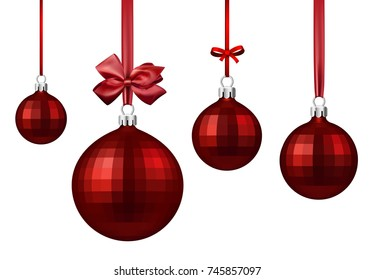 Red round isolated Christmas balls with satin bow. Vector illustration.