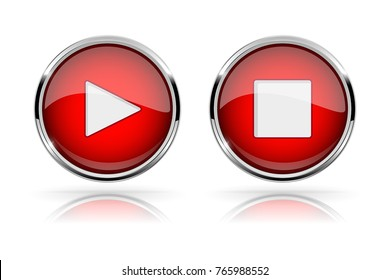 Red round media buttons. PLAY and STOP buttons. Shiny icon with chrome frame and with reflection. Vector 3d illustration on white background