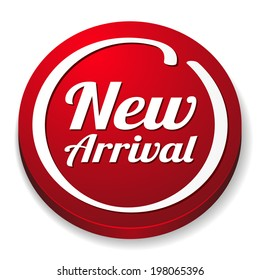 Red round new arrival button on white background