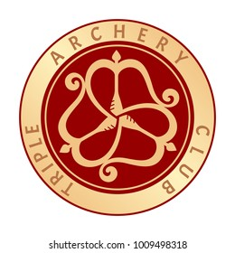Red round shield decorated with a three gold bows and arrows woven into a classic triskelion. Original vector sign with a text in a circle Triple Archery Club. Useful like a logo, icon, seal, tattoo.