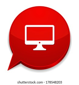 Red round speech bubble with desktop icon