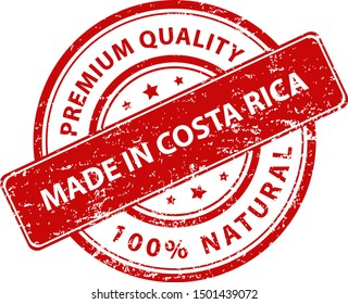 Red round stamp made in Costa Rica. Vector