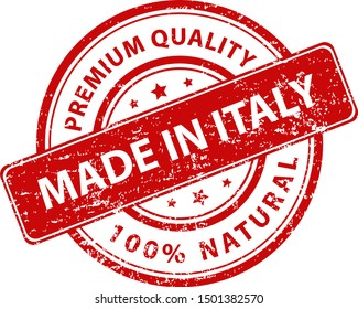 Red round stamp made in Italy. Vector