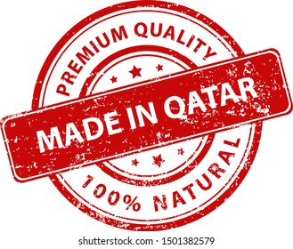 Red round stamp made in Qatar. Vector