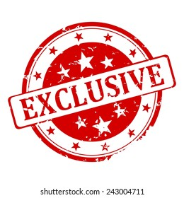 Red round stamp with the word exclusive - illustration