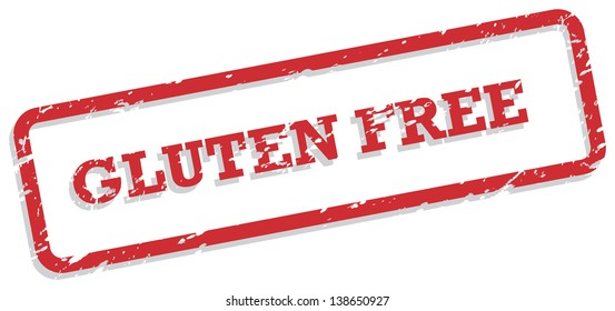 Red rubber stamp vector for gluten free food concept