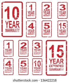 Red rubber stamp vector for warranty concept, including 1, 2, 3, 4, 5, 10 and 15 year extended warranty