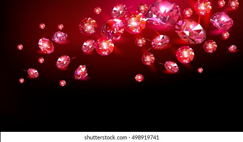 Red rubies scattered on a black background. Vector illustration.