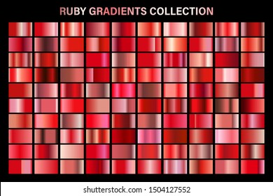Red ruby glossy gradient, metal foil texture. Color swatch set. Collection of high quality vector gradients. Shiny metallic background. Design element.