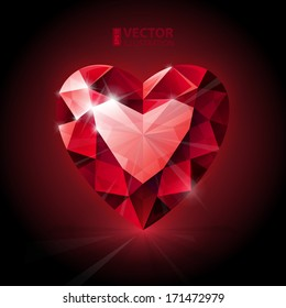 Red ruby heart shape. RGB EPS 10 vector illustration