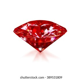 Red ruby on a white background. Gem. Vector illustration.