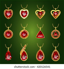 Red ruby pendants isolated on green background.