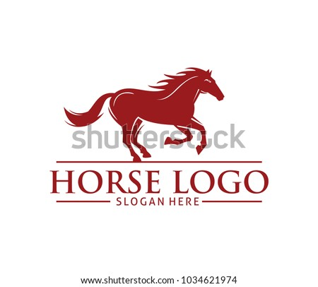 Horse profile on a white background, graphic logo template. Horse.