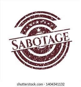 Red Sabotage rubber grunge texture seal