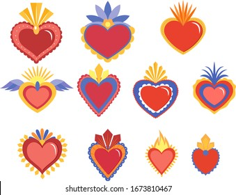 Red sacred heart vector illustration in mexican spirit color.
