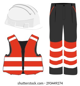 Red safety clothing vector icon set with safety vest, pants and white hardhat helmet. Safety equipment. Protective workwear