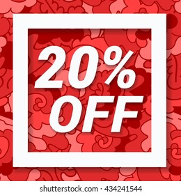 Red sale banner 20 percent off. Sale and discount.Colorful sticker.  Special offer symbol. Modern sale labels. Vector illustration.