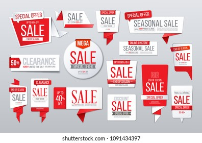 Red sale banner. Big collection. Discount tags, special offer stickers, seasonal clearance labels.