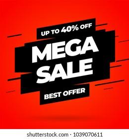 Red Sale banner template design, Mega sale special offer. End of season special offer banner. Vector illustration.