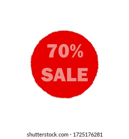 Red sale icon 70% off, buy, not expensive, emblem, business, industry, black friday vector illustration