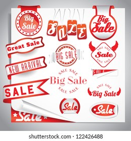 red sale labels set