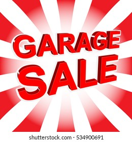 Red sale poster with GARAGE SALE text. Bright advertising banner template