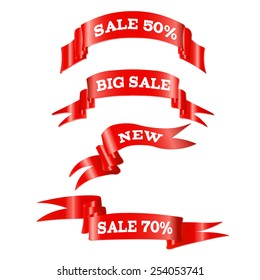 Red Sale Ribbons Set, Vector Illustration