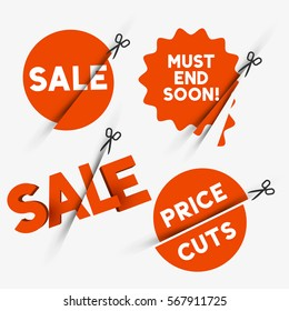 Red sale signs and discount price cut symbols. Vector illustration