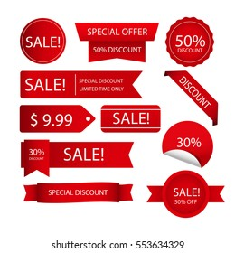 Red sale stamps. Limited time only. Different size and shapes. Discounts.Special offer. Winter sale. Summer sale.