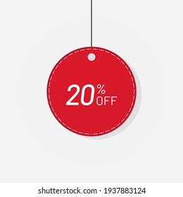 Red sale tag discount label 20 off Vector