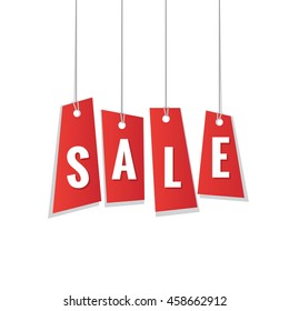 red sale tag hanging mobile heading design on white background for banner or poster. Sale and Discounts Concept. Vector illustration.