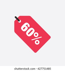 Red Sale Tag Vector Icon 60 Percent