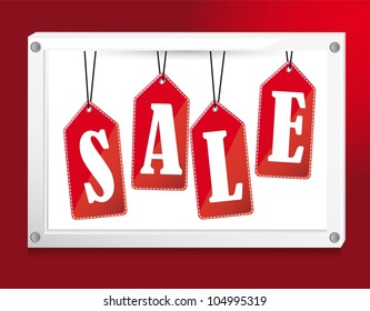 red sale tags over banner. vector illustration