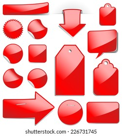 Red Sale Tags - Set of glossy sale tags, stickers and labels.