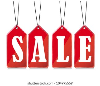 red sale tags with shadow over white background. vector illustration