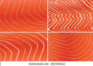 Red salmon texture. Food background. Vector illustration.