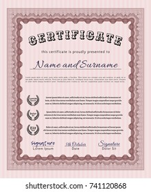 Red Sample Certificate. Excellent design. Printer friendly. Detailed.
