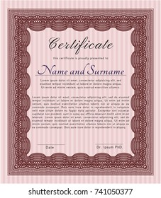 Red Sample Diploma. Detailed. With quality background. Modern design.