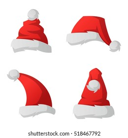 Red Santa Claus christmas hat vector illustration isolated on white background