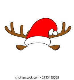 Red Santa Claus hat with white fur and hoop in the form of deer antlers. Vector objects isolated on white background.  Christmas collection