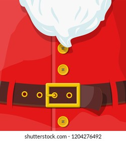 Red santa claus suit. Leather belt with gold buckle, white beard with buttons. Happy new year decoration. Merry christmas holiday. New year and xmas celebration. Vector illustration in flat style