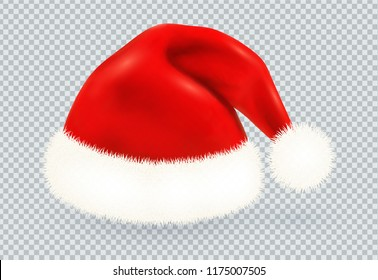 Red Santa Claus vector winter hat with white fur isolated on transparency grid imitation background