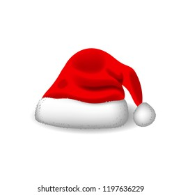 Red santa hat. Realistic style. Vector eps 10.