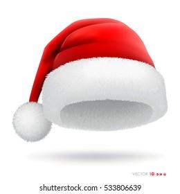 Red santa hat. Vector eps 10.